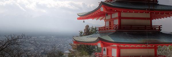 猿まわし劇場から富士山と五重塔